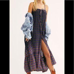 FREE PEOPLE plaid City Maxi Dress XS